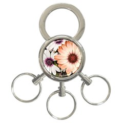 Beautiful Colourful African Daisies 3 Ring Key Chains by OZMedia