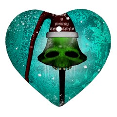 I Wish You A Merry Christmas, Funny Skull Mushrooms Heart Ornament (2 Sides) by FantasyWorld7