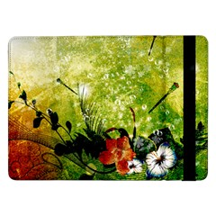 Awesome Flowers And Lleaves With Dragonflies On Red Green Background With Grunge Samsung Galaxy Tab Pro 12 2  Flip Case by FantasyWorld7
