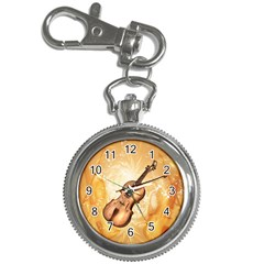 Wonderful Violin With Violin Bow On Soft Background Key Chain Watches by FantasyWorld7