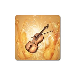 Wonderful Violin With Violin Bow On Soft Background Square Magnet by FantasyWorld7