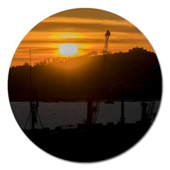 Aerial View Sunset Scene Of Montevideo Uruguay Magnet 5  (round) by dflcprints