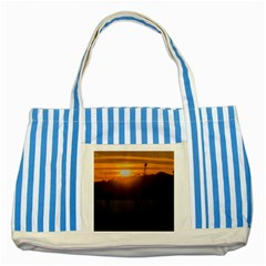 Aerial View Sunset Scene Of Montevideo Uruguay Striped Blue Tote Bag  by dflcprints