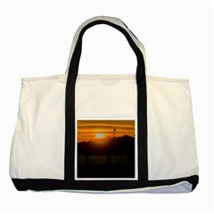 Aerial View Sunset Scene Of Montevideo Uruguay Two Tone Tote Bag  by dflcprints