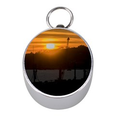 Aerial View Sunset Scene Of Montevideo Uruguay Mini Silver Compasses by dflcprints