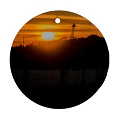 Aerial View Sunset Scene Of Montevideo Uruguay Round Ornament (Two Sides)  by dflcprints