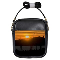 Aerial View Sunset Scene Of Montevideo Uruguay Girls Sling Bags by dflcprints