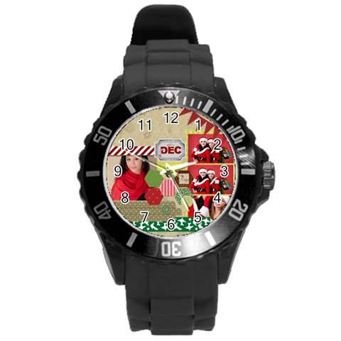 Merry Christmas By Debe Lee   Round Plastic Sport Watch (l)   Bmzxhjjz59n1   Www Artscow Com Front