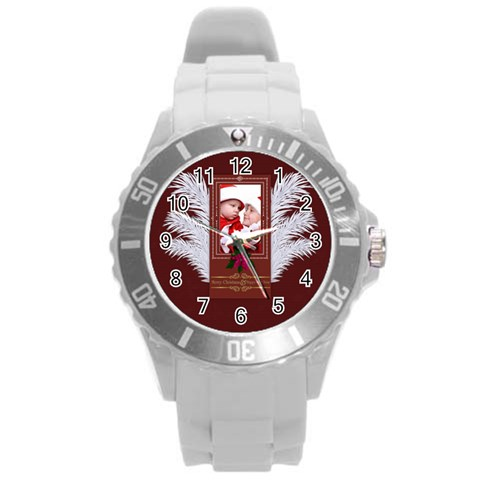 Merry Christmas By Debe Lee   Round Plastic Sport Watch (l)   2bpeb44yihqs   Www Artscow Com Front