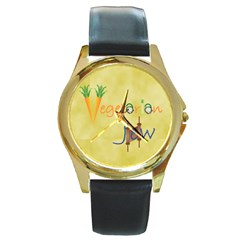 VeggieJew02_12_7_2015 Round Gold Metal Watch from ArtsNow.com Front