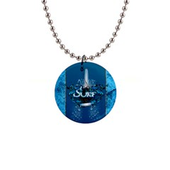 Surf, Surfboard With Water Drops On Blue Background Button Necklaces by FantasyWorld7