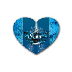 Surf, Surfboard With Water Drops On Blue Background Heart Coaster (4 Pack)  by FantasyWorld7