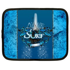 Surf, Surfboard With Water Drops On Blue Background Netbook Case (Large) by FantasyWorld7