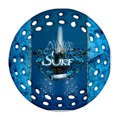 Surf, Surfboard With Water Drops On Blue Background Round Filigree Ornament (2side) by FantasyWorld7