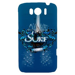 Surf, Surfboard With Water Drops On Blue Background HTC Sensation XL Hardshell Case by FantasyWorld7