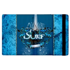Surf, Surfboard With Water Drops On Blue Background Apple Ipad 2 Flip Case by FantasyWorld7