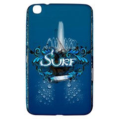 Surf, Surfboard With Water Drops On Blue Background Samsung Galaxy Tab 3 (8 ) T3100 Hardshell Case  by FantasyWorld7