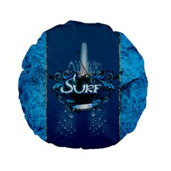 Surf, Surfboard With Water Drops On Blue Background Standard 15  Premium Flano Round Cushions by FantasyWorld7