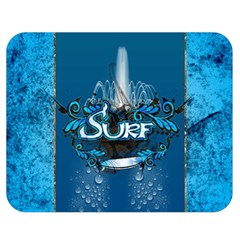 Surf, Surfboard With Water Drops On Blue Background Double Sided Flano Blanket (medium)  by FantasyWorld7