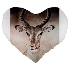 Antelope horns Large 19  Premium Heart Shape Cushions by TwoFriendsGallery