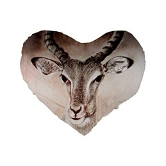 Antelope horns Standard 16  Premium Flano Heart Shape Cushions by TwoFriendsGallery