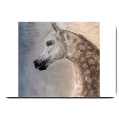 Grey Arabian Horse Large Doormat  by TwoFriendsGallery
