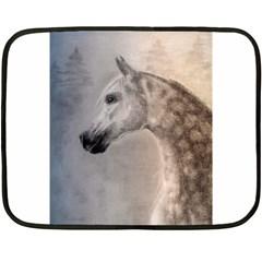 Grey Arabian Horse Fleece Blanket (mini) by TwoFriendsGallery
