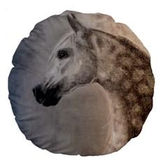 Grey Arabian Horse Large 18  Premium Round Cushions by TwoFriendsGallery