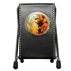 Awesome Colorful, Glowing Leaves  Pen Holder Desk Clocks by FantasyWorld7