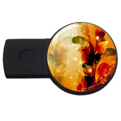 Awesome Colorful, Glowing Leaves  Usb Flash Drive Round (4 Gb)  by FantasyWorld7
