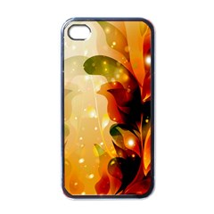 Awesome Colorful, Glowing Leaves  Apple Iphone 4 Case (black) by FantasyWorld7