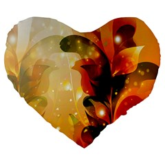 Awesome Colorful, Glowing Leaves  Large 19  Premium Flano Heart Shape Cushions by FantasyWorld7
