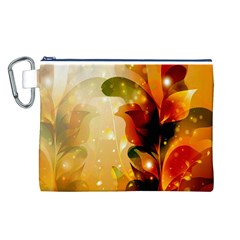 Awesome Colorful, Glowing Leaves  Canvas Cosmetic Bag (l) by FantasyWorld7