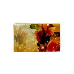 Awesome Colorful, Glowing Leaves  Cosmetic Bag (xs) by FantasyWorld7