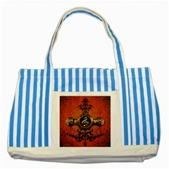 Wonderful Golden Clef On A Button With Floral Elements Striped Blue Tote Bag  by FantasyWorld7