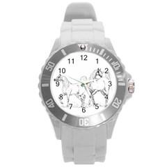 Logosquare Round Plastic Sport Watch (l) by TwoFriendsGallery