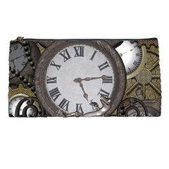 Steampunk, Awesome Clocks With Gears, Can You See The Cute Gescko Pencil Cases by FantasyWorld7