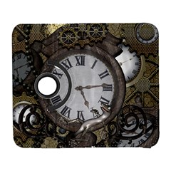 Steampunk, Awesome Clocks With Gears, Can You See The Cute Gescko Samsung Galaxy S  III Flip 360 Case by FantasyWorld7