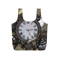 Steampunk, Awesome Clocks With Gears, Can You See The Cute Gescko Full Print Recycle Bags (s)  by FantasyWorld7