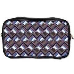 Metal Weave Blue Toiletries Bags 2 Side by MoreColorsinLife