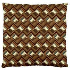 Metal Weave Golden Large Flano Cushion Cases (one Side)  by MoreColorsinLife