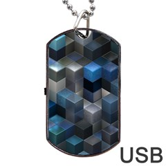 Artistic Cubes 9 Blue Dog Tag Usb Flash (one Side) by MoreColorsinLife