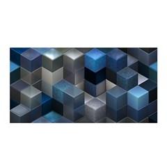 Artistic Cubes 9 Blue Satin Wrap by MoreColorsinLife