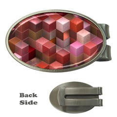 Artistic Cubes 9 Pink Red Money Clips (oval)  by MoreColorsinLife
