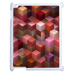 Artistic Cubes 9 Pink Red Apple Ipad 2 Case (white) by MoreColorsinLife