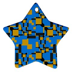 Blue Yellow Shapes Star Ornament (two Sides) by LalyLauraFLM