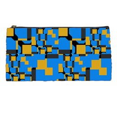 Blue Yellow Shapes Pencil Case by LalyLauraFLM