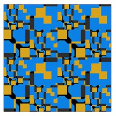 Blue Yellow Shapes Satin Scarf by LalyLauraFLM