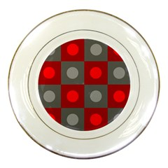 Circles In Squares Pattern Porcelain Plate by LalyLauraFLM