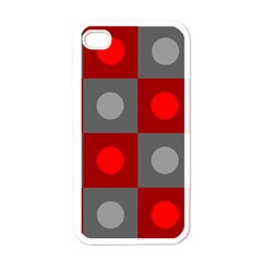 Circles In Squares Pattern Apple Iphone 4 Case (white) by LalyLauraFLM